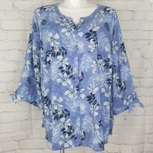 NWT Catherine's blue floral button up top